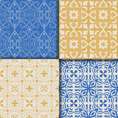 Collectiom seamless pattern arabic style in blue and yellow colors. Can be used for gift wrap, background, backdrop, textile