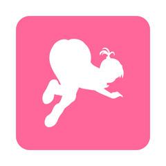 Icono plano silueta chica culo arriba en cuadrado rosa