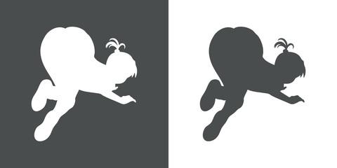Icono plano silueta chica culo arriba gris y blanco