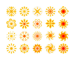 Yellow sun icon set isolated on white. Abstract circular decorative element in yellow-orange color