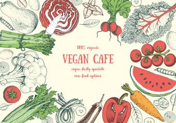 Healthy food frame vector illustration. Vegetables sketch set. Organic products set. Farm market food collection. Vegan food.