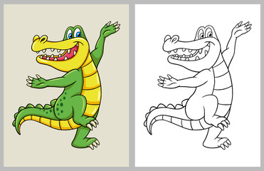 Dancing crocodile cartoon character, good use for symbol, mascot, coloring book, sign, web icon, logo, game or any design you want.