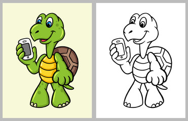 Turtle cartoon character with hand phone. good use for coloring book, symbol, logo, web icon, mascot, sticker, sign, game, or any design you want