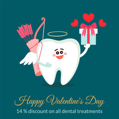 Dental valentine card. Cartoon tooth, cupid with bow, arrows and gift. Discount concept. Happy Valentine's Day! Greeting from dentistry.