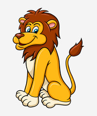 Lion cartoon character, good use for symbol, logo, web icon, mascot, sticker, or any design you want.