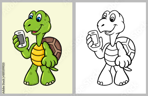 Turtle cartoon character with hand phone. good use for coloring book ...
