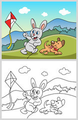 Rabbit playing a kite with dog. Good use for symbol, logo, web icon, mascot, sticker or any design you want.