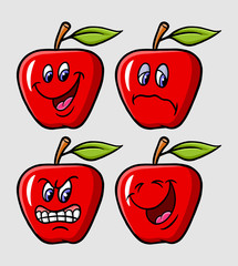 Apple cartoon character expression emoticon icon, good use for symbol, logo, web icon, mascot, sticker, or any design you want.