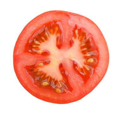 slice of tomato isolated on white