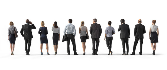 Back view of standing business people. Illustration on white background, 3d rendering isolated. Fototapete