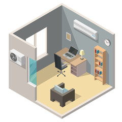 Isometric air conditioning system climate control living room interiors vector 3d set