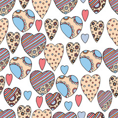 Doodle textured hearts seamless pattern on white background. For love day, Valentine for your web design.