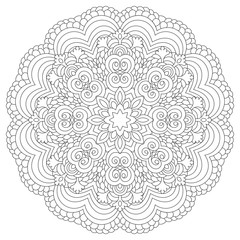 Mandala coloring book page design. Flower circular anti stress black and white vintage decorative element for adults. Monochrome oriental ethnic pattern. Hand drawn isolated vector illustration.