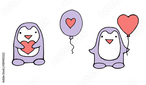 Love Greeting Card With Cute Penguin Holding Heart Funny Poster Or