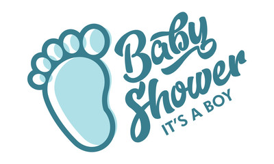 Blue Baby Foot Baby Shower Invite Greeting Card