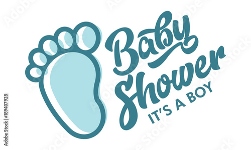 Blue Baby Foot Baby Shower Invite Greeting Card Stock Image And