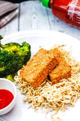 oven sesame tofu
