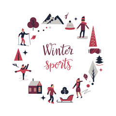 Winter sport scene with different characters, elements