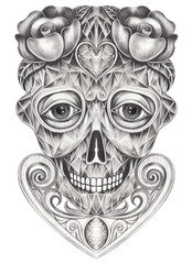 Art  Diamond style mix Surreal Skull. Hand pencil drawing on paper.