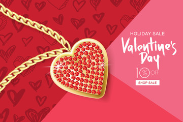 Valentines day sale banner. Vector holiday background with gold necklace chain and red heart pendant on pink textured paper. Design for holiday flyer, poster, party invitation.