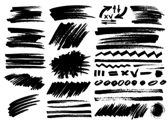 Set of marker brush stroke, abstract brush, sketch. Vector illustration. Isolated on white background