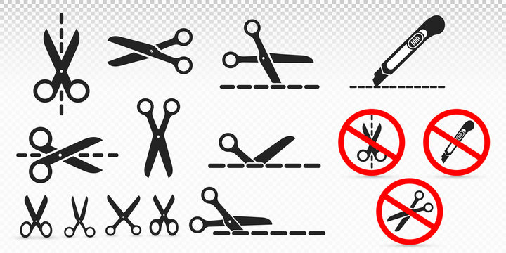 Set of cut line with scissors and stationery knife. Black icon, sign prohibiting cutting packaging and parcels by knife and scissors. Vector illustration. Isolated on transparent background