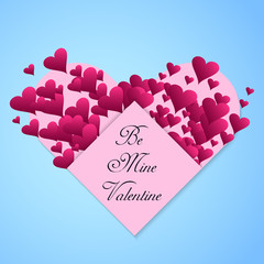 Valentine's day abstract background with cut pink paper heart  typography poster with handwritten text paper Be my Valentine. Vector illustration.
