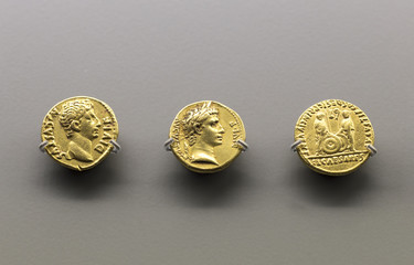 Three golden coins of Augustus Emperor