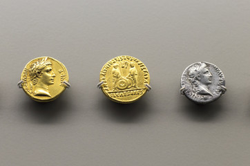 Golden and silver roman coins of Augustus Emperor