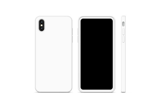Blank white phone case mock up, stand isolated, 3d rendering. Empty smartphone cover mockup ready for logo or pattern print presentation. Cellphone protector cover concept. Cell plastic casing design