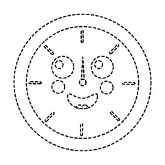 happy clock kawaii icon image vector illustration design  black dotted line