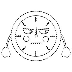 angry clock kawaii icon image vector illustration design  black dotted line