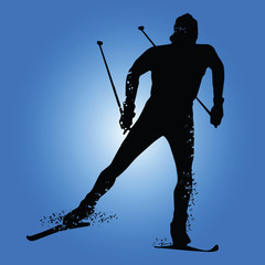 Silhouette cross country skiing isolated on blue background