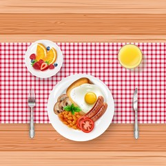 Breakfast food menu with fried egg and berries on wooden table