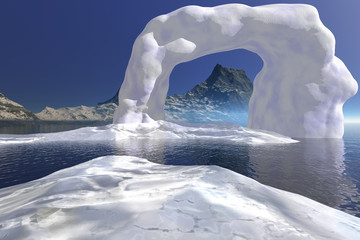 Ice, a polar landscape, frozen waters, mountain in the background and a blue sky.