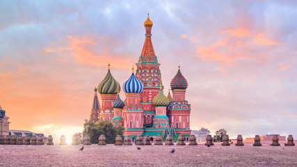 Tuinposter Moskou Basil's cathedral at Red square in Moscow