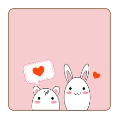 Small cute peeking animal character, white rat and rabbit with mini hearts on sweet pink color background for card or copy space love, wedding and Valentine concept, vector and illustration