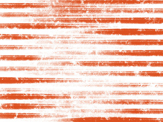 Colorful hand drawn bright orange abstract chalk texture stripe on white background, isolated illustration of horizontal lines painted by pencil paper chalk on canvas for wallpaper, high quality