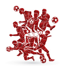 Soccer Team  player composition  designed using grunge brush graphic vector.