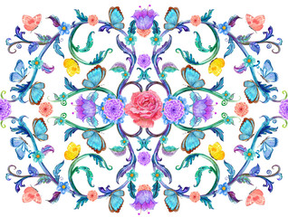 colorful arabesque with floral ornaments and butterflies. watercolor painting.