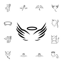 angel wings and halo icon. Simple set of angel and demon related outline icons. Elements for mobile concept and web apps. Thin line vector icons for website and app design