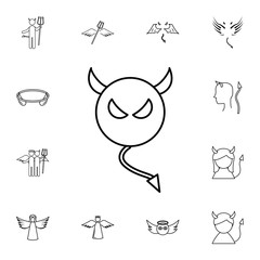 Devil line icon. Simple set of angel and demon related outline icons. Elements for mobile concept and web apps. Thin line vector icons for website and app design