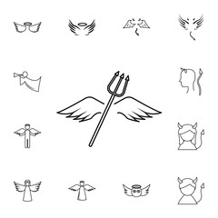 wings and horns lne icon. Simple set of angel and demon related outline icons. Elements for mobile concept and web apps. Thin line vector icons for website and app design