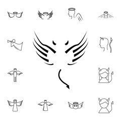 wings line icon. Simple set of angel and demon related outline icons. Elements for mobile concept and web apps. Thin line vector icons for website and app design