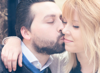 love passion and kissing. close up on faces when couple kissing passionately