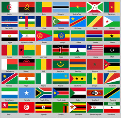 set of flags of Africa