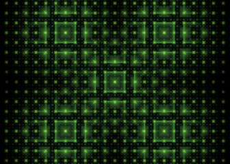 Fractal tech background with green shiny squares on black