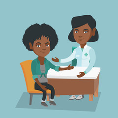 African-american therapist doctor consulting a patient in the office. Therapist doctor talking to a young female patient about her state of health. Vector cartoon illustration. Square layout.