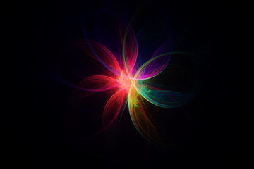 Fractal in neon colors with curved lines shaping a flower, on dark background