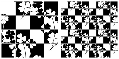Seamless pattern in single layer of clover leaves intersected with chess board.